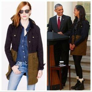 J. CREW S Small Long Colorblock Field Coat Jacket